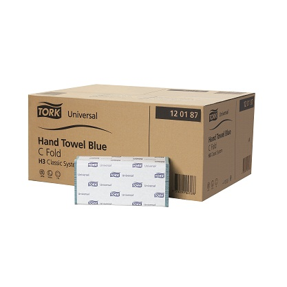120188 Tork Universal C Fold Towel Blue 1 Ply H3 192 Sheets Per Bundle 24 Bundles Per Case was 120187