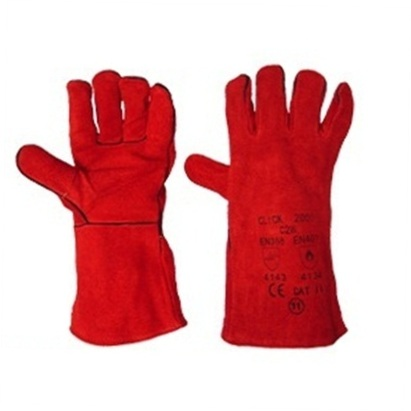 Red Leather Welding Gauntlet Glove