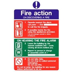 "Pm1c r/p ""fire Action"" Sign 200mm X 300mm"