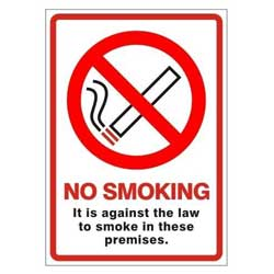 "Sm073h r/p ""no Smoking In Premises Law"" Sign 148mm X 210mm"