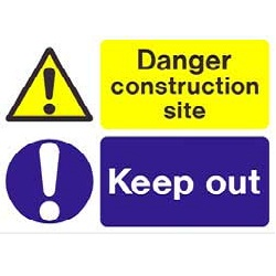 "Mp32u r/p ""danger Construction Site Keep Out"" Sign 600mm X 450mm"