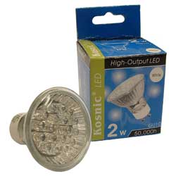 Gu10 2w Led Lamp Hi-Output (18/20w) Kled2hio-W  Long Life.