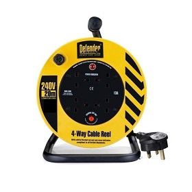 Defender E86465 (extension) 20m 4 Outlet With 1.25mm 3 Core Cable 230v 13a Cable Reel