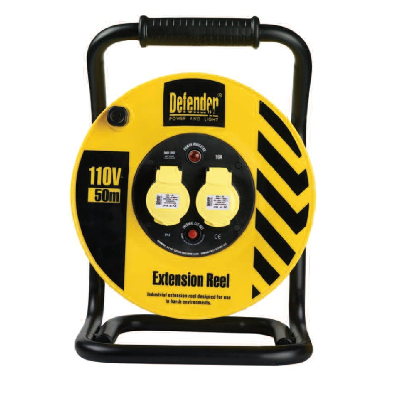 Defender E86500 (extension) 50m 2 Outlet With 1.5mm 3 Core Cable 110v 16a (heavy Duty) Cable Reel