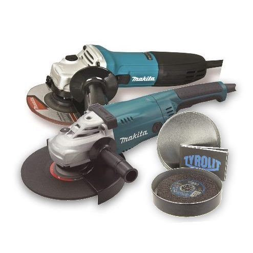 Makita 230mm & 115mm Grinder Twin Pack With Free Tin Of 10 Tyrolit Cutting Discs