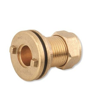 Flanged Tank Connector Brass Compression Fittings