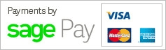 Payments by Sage Pay: Visa, PayPal, MasterCard, American Express