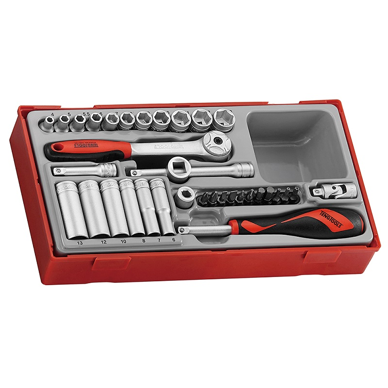 "TENG 1/4"" DRIVE REGULAR/DEEP METRIC SOCKET SET - 35 PIECES TT1435"