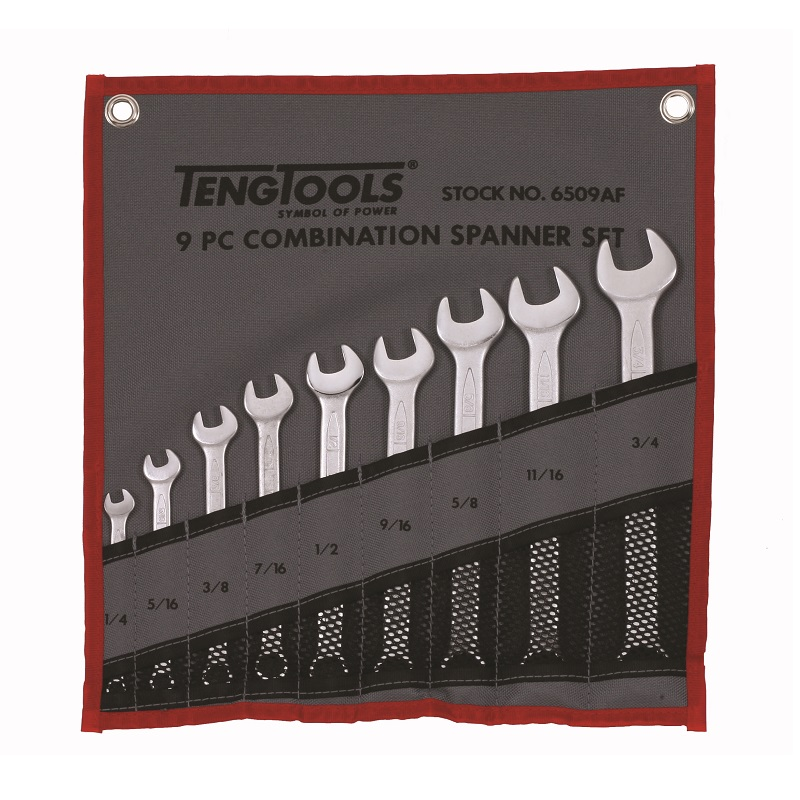 TENG 9 PIECE AF COMBINATION SPANNER SET 1/4