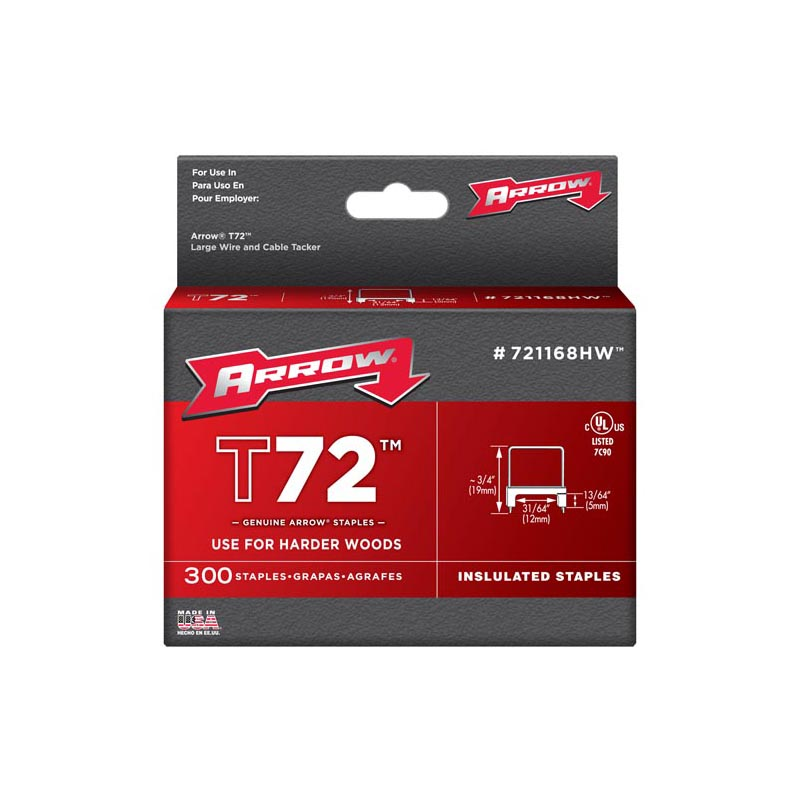 ARROW T72 CLEAR INSULATED STAPLES 5 X 12MM