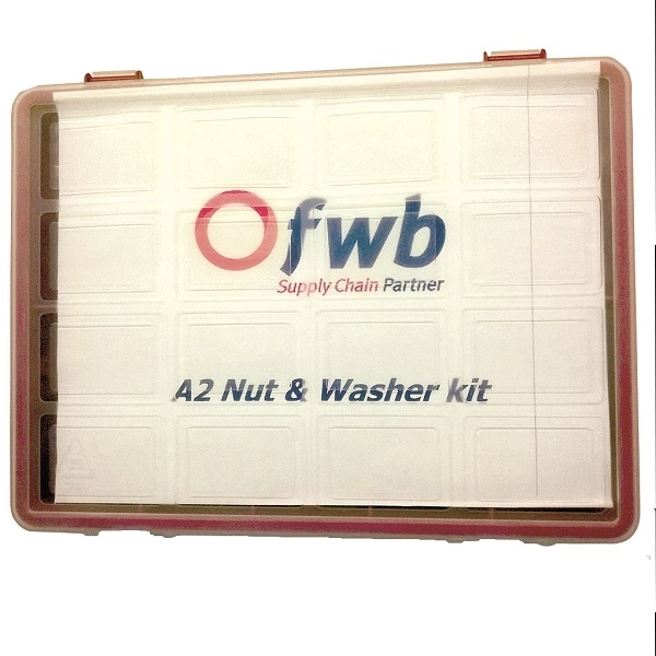 FWB st/st Nuts & Washers Selection Pack A2 M5 - M12  Av. Contents 890