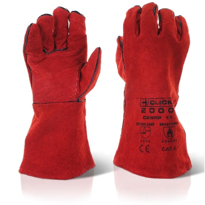 CLICK 2000 RED DOUBLE PALM WELDERS GAUNTLETS