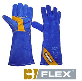 B-FLEX BLUE LEATHER WELDING GAUNTLET GLOVES CAT 2
