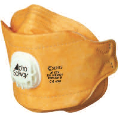 ALPHA SOLWAY C3V FFP3V RESPIRATOR FOLD FLAT DISPOSABLE