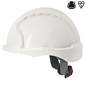 JSP Evo3 White Micro Peak Safety Helmet Non Vented With Wheel Rachet En397 Ajg170-000-100