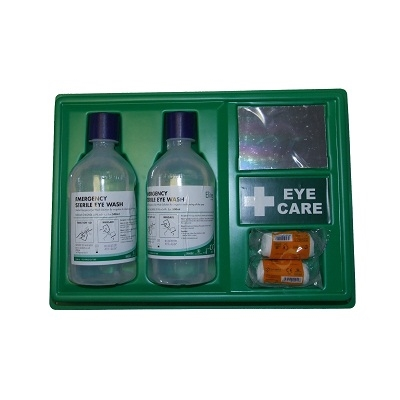 Eyewash Station Twin 500ml Bottles c/w Mirror