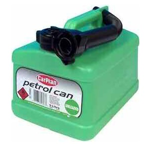 5 LITRE UNLEADED GREEN PLASTIC FUEL CAN