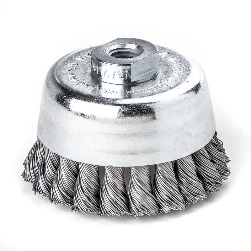 LESSMAN 65mm x M14 STEEL TWIST KNOT WIRE CUP BRUSH 482217