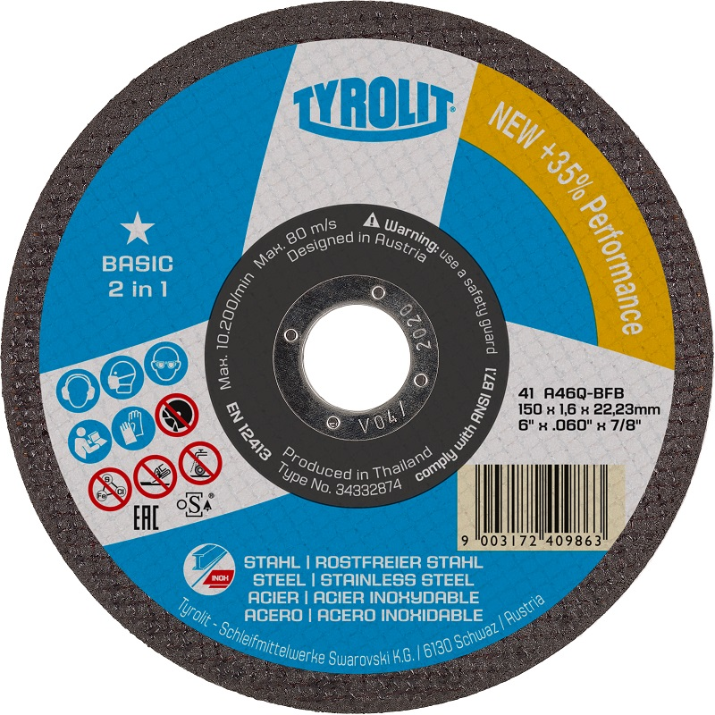 TYROLIT 125MM X 2.5MM 2 IN 1 DPC METAL CUTTING DISC 1 STAR BASIC 223022