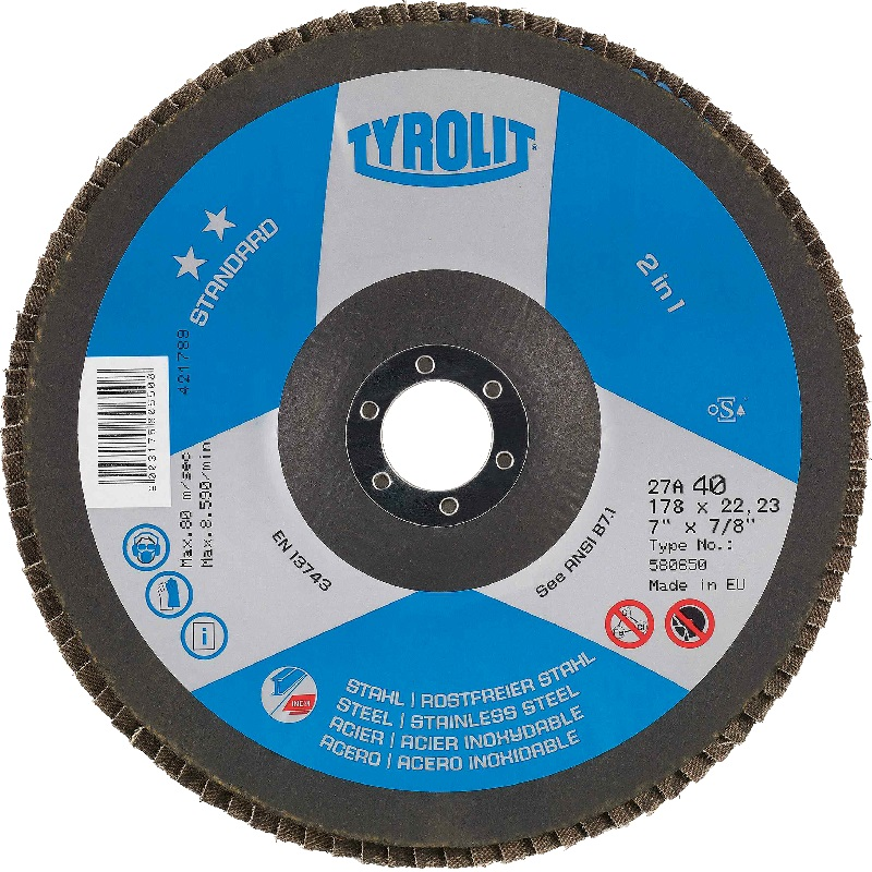TYROLIT 125MM X 60 GRIT FLAP DISC CONICAL ZIRCONIUM ZA60-B 2 STAR STANDARD 455303