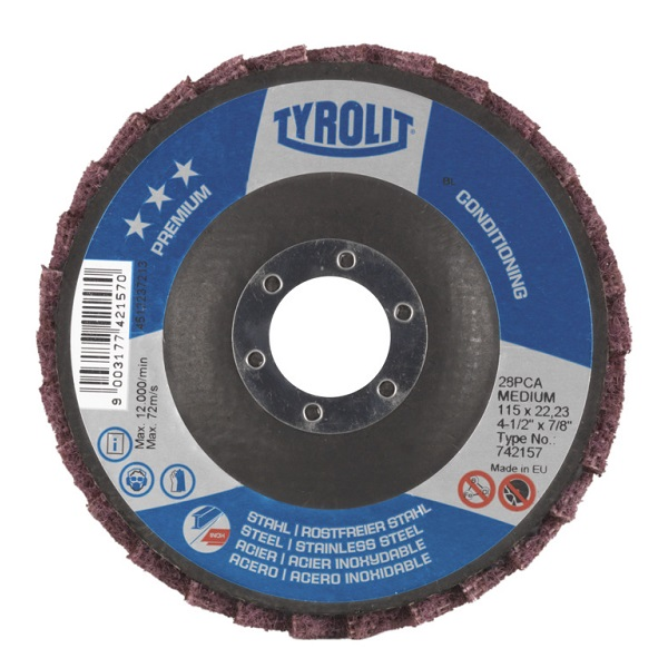 TYROLIT CONDITIONING DISC 125MM MEDIUM 3 STAR PREMIUM 742153 STEEL/INOX/PVC/ALUMNIUM/COMPOSITES