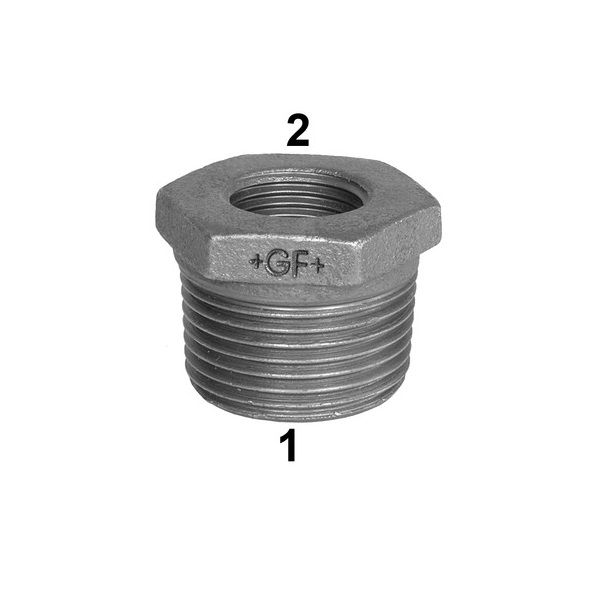 GF HEX REDUCING BUSH -  GALVANISED MALLEABLE