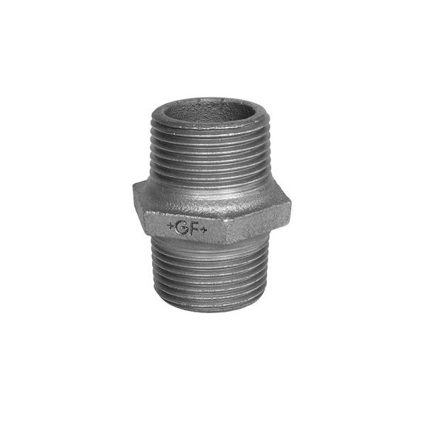 GF HEX NIPPLE - GALVANISED  MALLEABLE