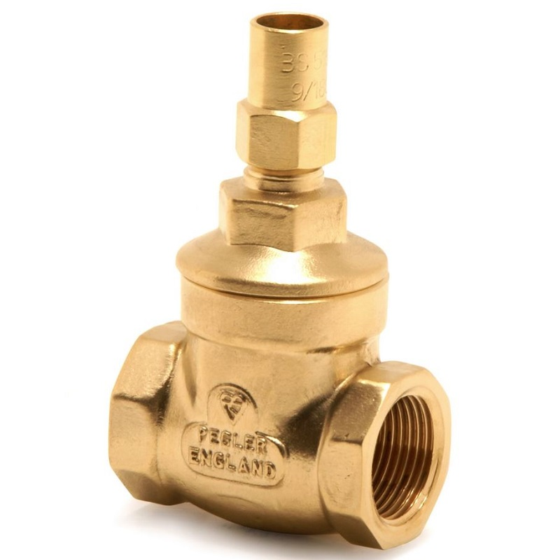PEGLER 1068LS BRASS GATE VALVE WITH LOCKSHIELD WRAS APPROVED
