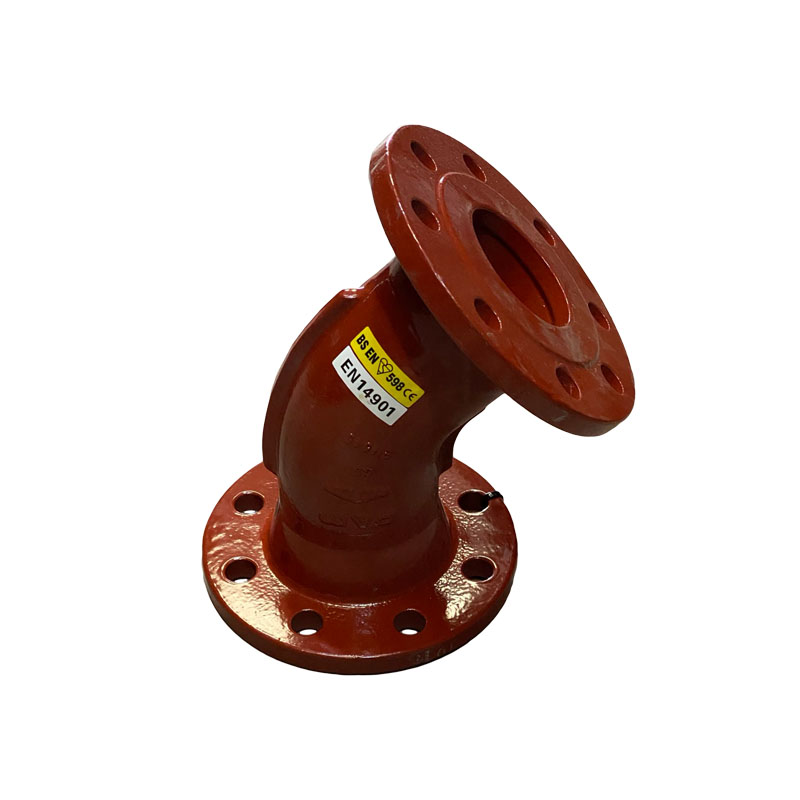 DOUBLE FLANGED DUCTILE IRON 45 DEGREE BEND - RED EPOXY COATED