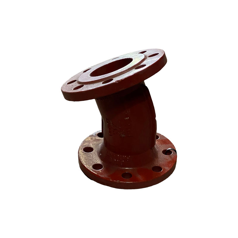 DOUBLE FLANGED DUCTILE IRON 22.5 DEGREE BEND - RED EPOXY COATED