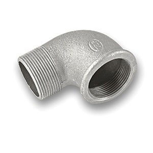 GALVANISED MALLEABLE MALE X FEMALE 90 DEGREE ELBOW