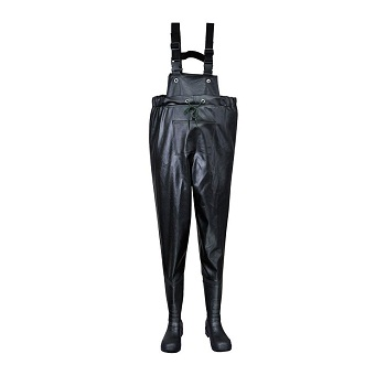 PORTWEST FW74 BLACK SAFETY CHEST WADERS