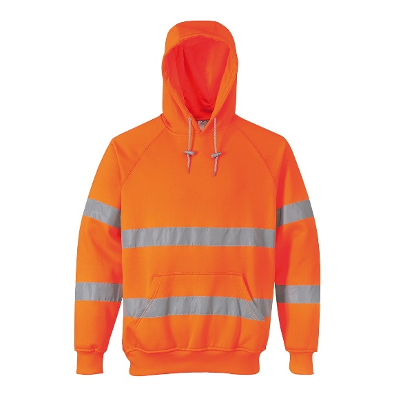 MEDIUM ORANGE HI-VIS HOODED SWEATSHIRT