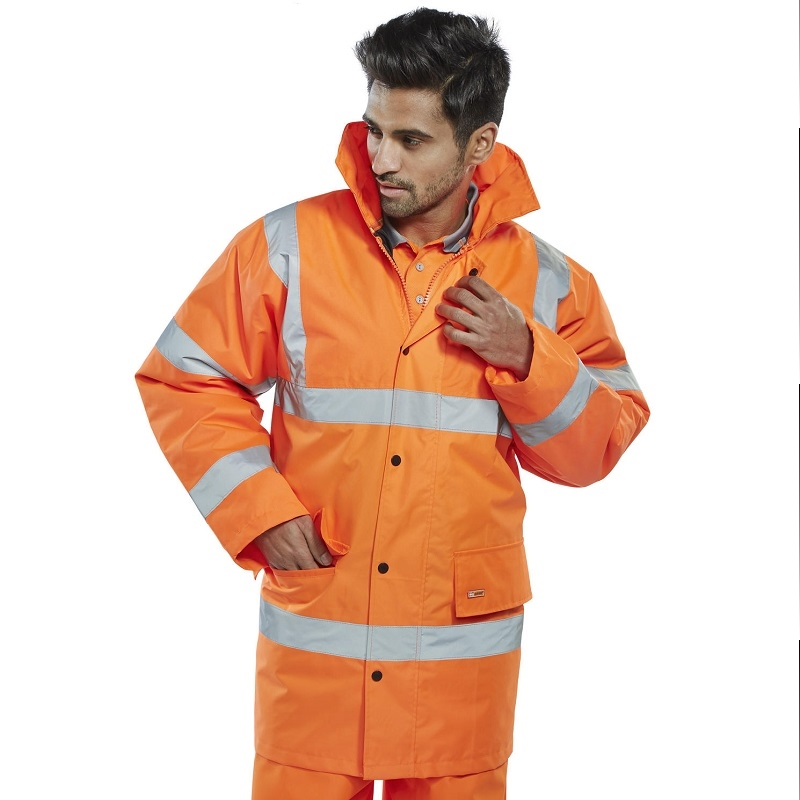 HI-VIS ORANGE WATERPROOF COAT / HIGHWAY JACKET EN471 CLASS 3