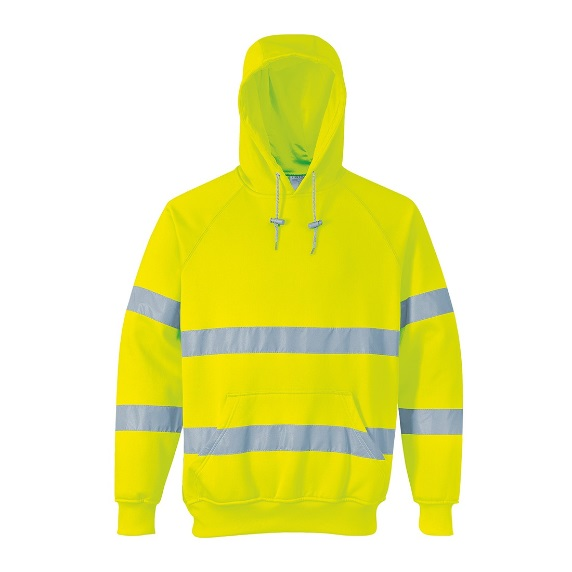 MEDIUM YELLOW HI-VIS HOODED SWEATSHIRT B304