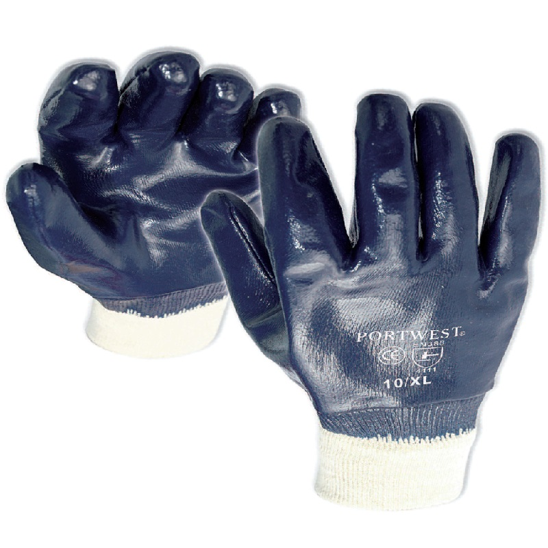 A300 BLUE NITRILE KNIT WRIST FULLY COATED GLOVES