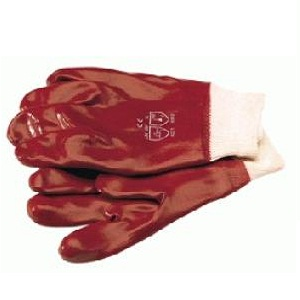 RED PVC KNIT WRIST GLOVES SIZE LARGE 9