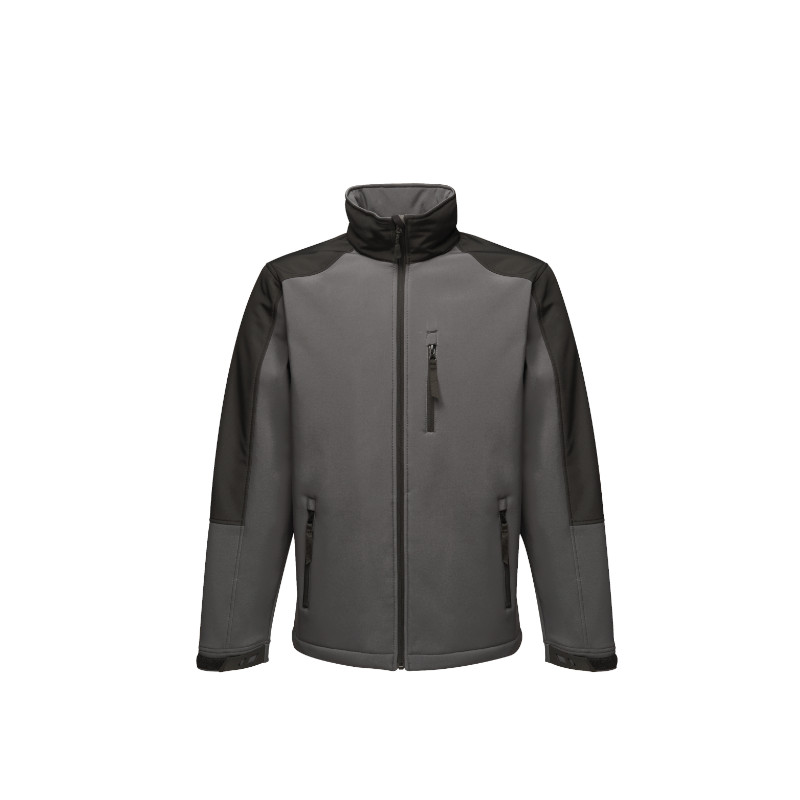 DICKIES TWO-TONE SOFTSHELL JACKET, GREY AND BLACK