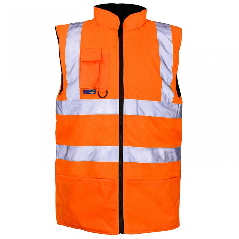 2XL HI-VIS ORANGE BODYWARMER FLEECE-LINED