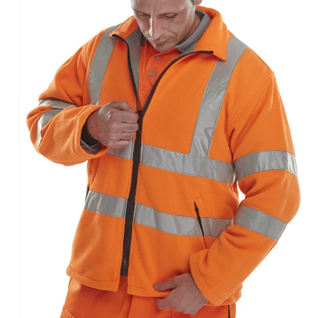 LARGE HI-VIS ORANGE FLEECE JACKET CLASS 3