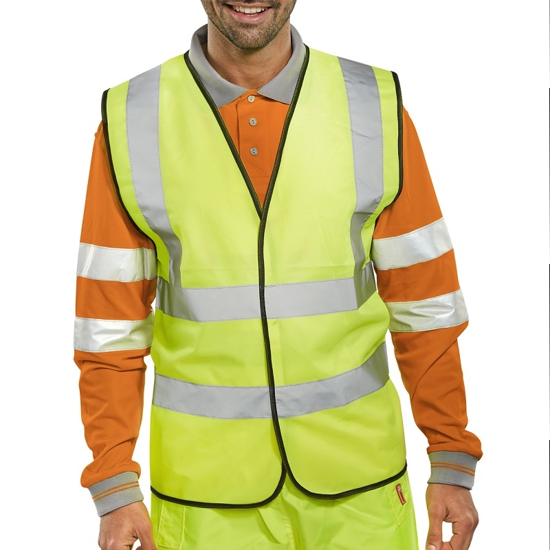 MEDIUM YELLOW EN471 CLASS 2 2 B&B HI-VIS VEST