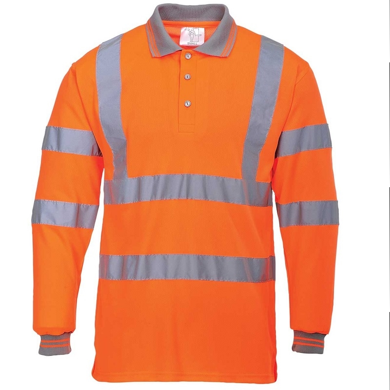 MEDIUM HI-VIS ORANGE LONG SLEEVE POLO