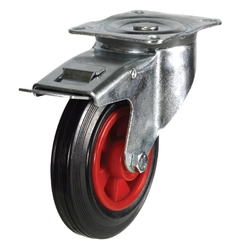 100MM MEDIUM DUTY SWIVEL BRAKED CASTOR  NYLON WHEEL