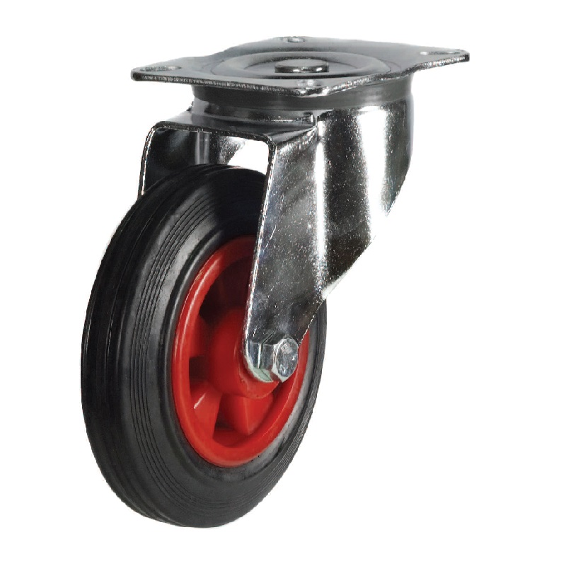 ROLLER BEARING FIXED CASTOR WITH RUBBER  TYRE