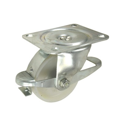 Med. Duty Swivel Braked Castor 100mm Nylon Wheel (4-61-Nybr)