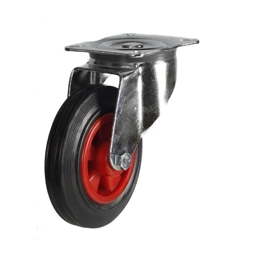 Roller Bearing Swivel Castor 125mm Rubber Tyre (125dr4psb)